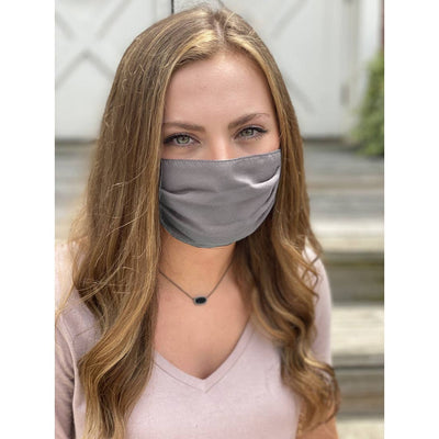 Solid Gray Adjustable Pleated Face Mask