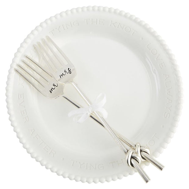 Mr. & Mrs. Beaded Fork Plate Set