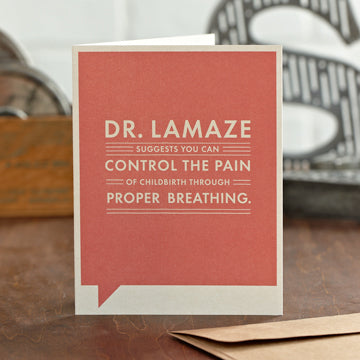 """Dr. Lamaze Suggests"" Funny New Baby Card"