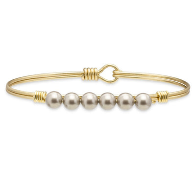 Luca and Danni Crystal Pearl Bangle Bracelet in Platinum