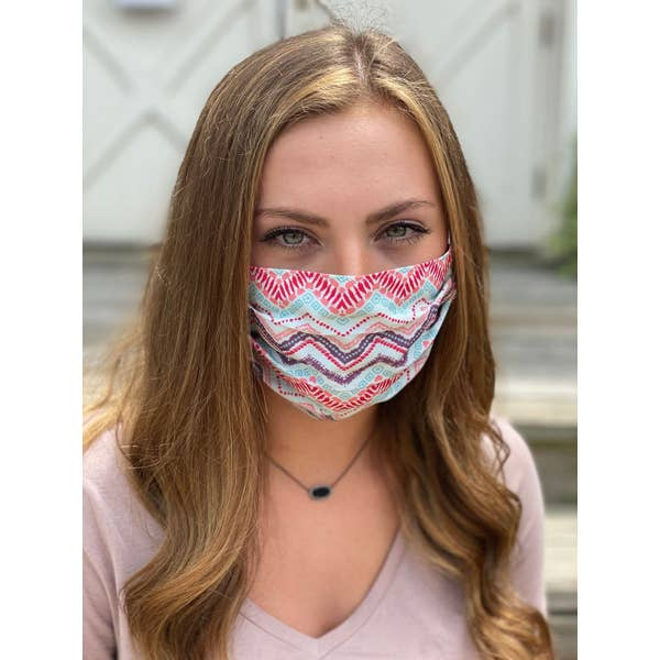 Wavy Lines Pleated Face Mask
