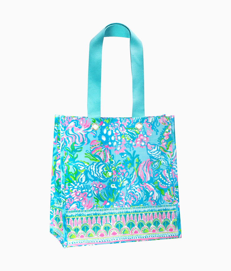 Market Shopper Tote in Blue Ibiza Aqua La Vista