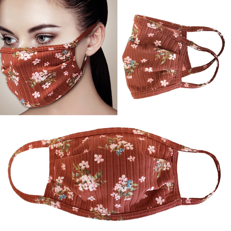Ribbed Floral Fabric Face Mask