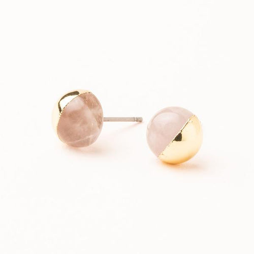 Scout Curated Wears Dipped Stone Stud Earring - Rose Quartz/Gold