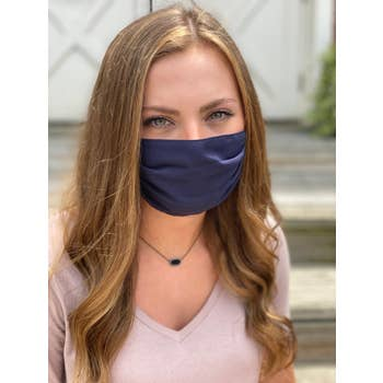 Solid Navy Pleated Face Mask