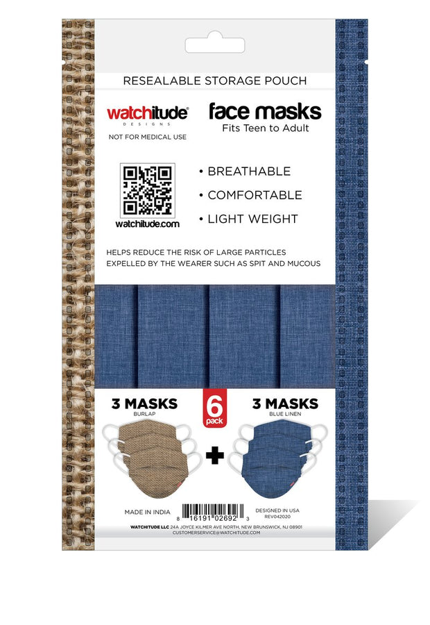 Adult Fashion Print Disposable Masks - 6 Pack