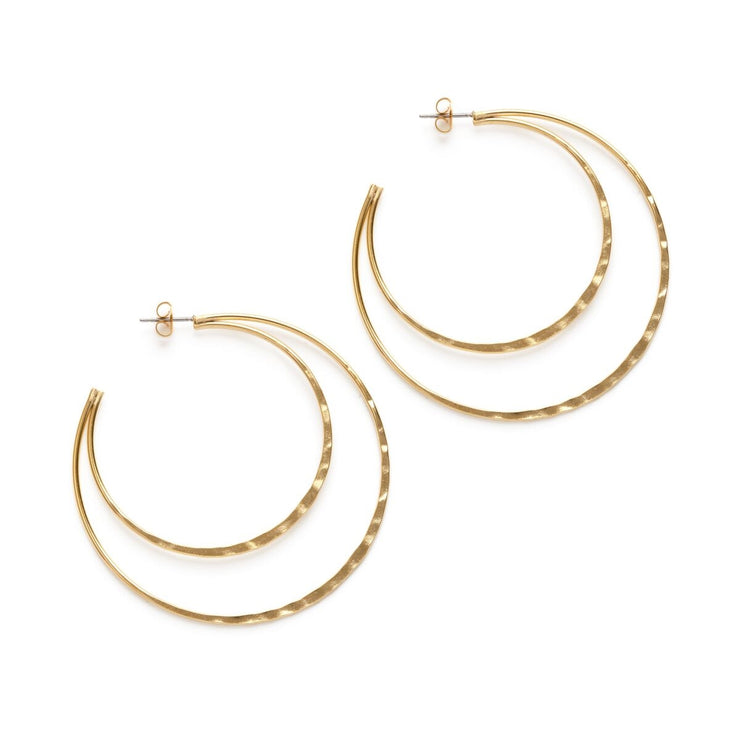 Double Hammered Hoop Studs