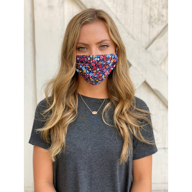 Fall Floral Adjustable Pleated Face Mask