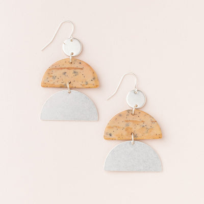 Stone Half Moon Earring - Petrified Wood