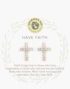 Spartina 449 Sea La Vie Stud Earrings Have Faith/Cross
