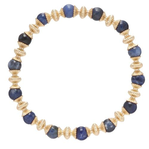 Loyalty Gold 6mm Bead Bracelet - Sodalite