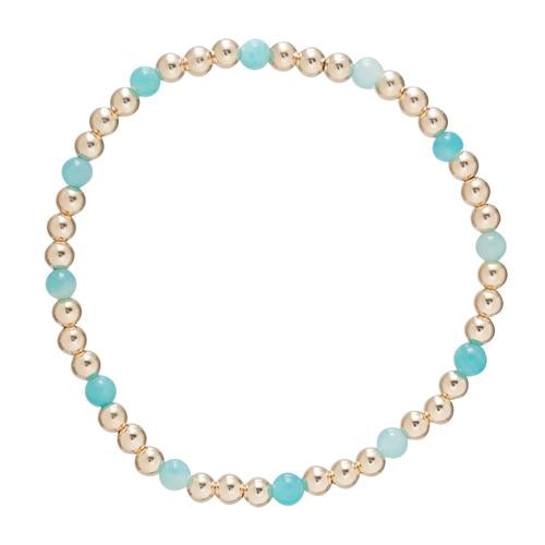 Gold Sincerity Pattern 4mm Bead Bracelet - Amazonite