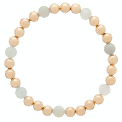 Gold Sincerity Pattern 6mm Bead Bracelet - Aquamarine