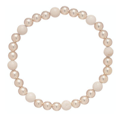 Gold Sincerity Pattern 6mm Bead Bracelet - Riverstone