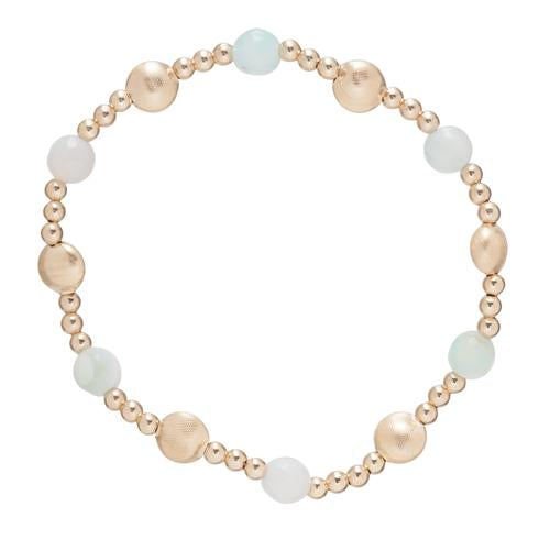 Honesty Gold Sincerity Pattern 6mm Bead Bracelet - Turquoise Agate