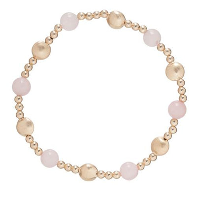 Honesty Gold Sincerity Pattern 6mm Bead Bracelet - Rose Quartz