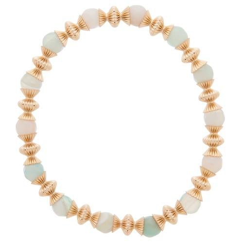 Loyalty Gold 6mm Bead Bracelet - Turquoise Agate
