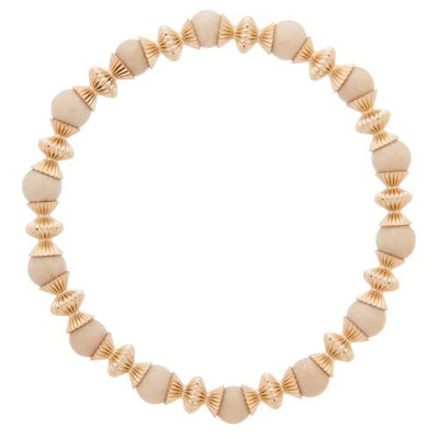 Loyalty Gold 6mm Bead Bracelet - Riverstone