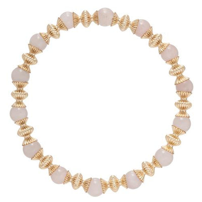 Loyalty Gold 6mm Bead Bracelet - Rose Quartz