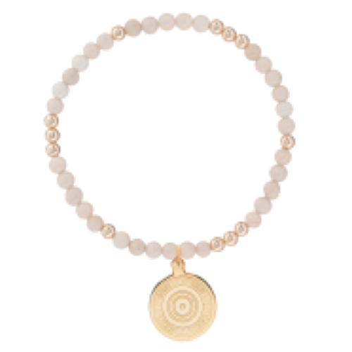 Worthy Pattern 4mm Bead Bracelet - Athena Small Gold Charm - Riverstone