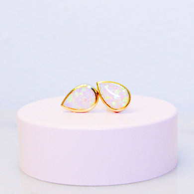 Pink Opal Drop Stud Earrings - Gold Vermeil