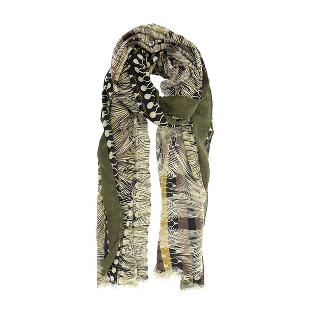 Feather Geometric Print Scarf
