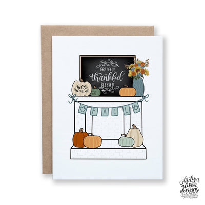 Fall Mantle Thanksgiving Card