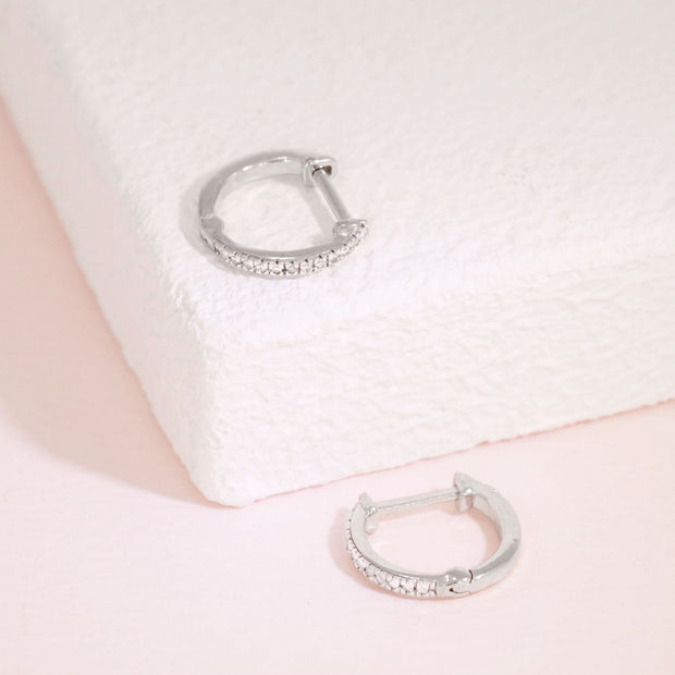 Half-Hearted Mini Diamond Hoop Earrings