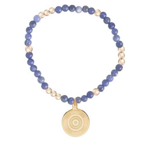 Worthy Pattern 4mm Bead Bracelet - Athena Small Gold Charm - Sodalite