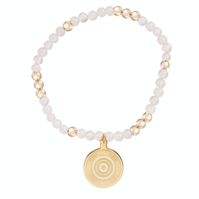 Worthy Pattern 4mm Bead Bracelet - Athena Small Gold Charm - Rose Quartz