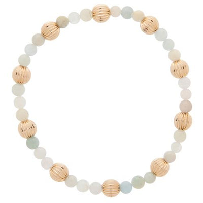 Riverstone Sincerity Pattern 4mm Bead Bracelet - Dignity Gold 6mm