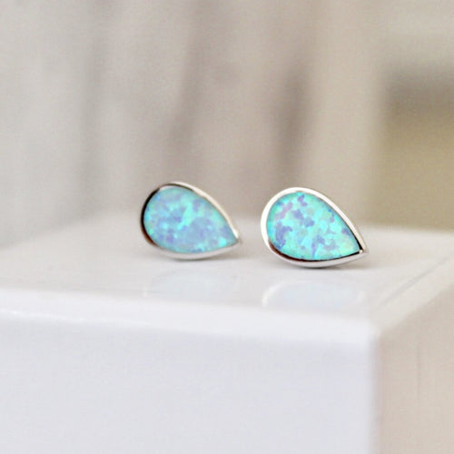 Blue Opal Drop Stud Earrings