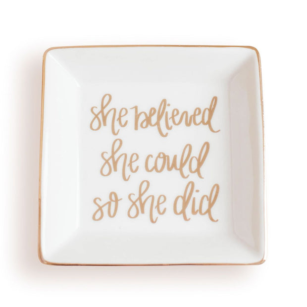 She Believed She Could So She Did Jewelry Dish