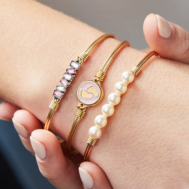 Luca and Danni Little Footsteps Bangle Bracelet in Pink