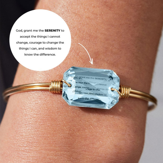Serenity Prayer Bangle Bracelet in Aqua Swarovski Crystal