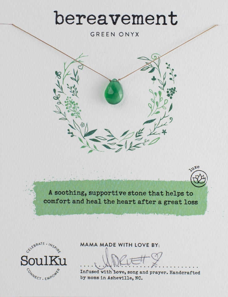 Soulku Green Onyx Luxe Necklace for Bereavement
