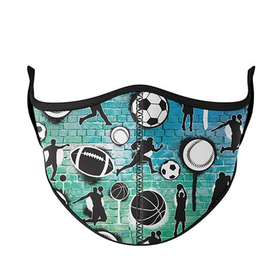 Sports Graffiti Tie Dye Adjustable Face Mask - Ages 3-7