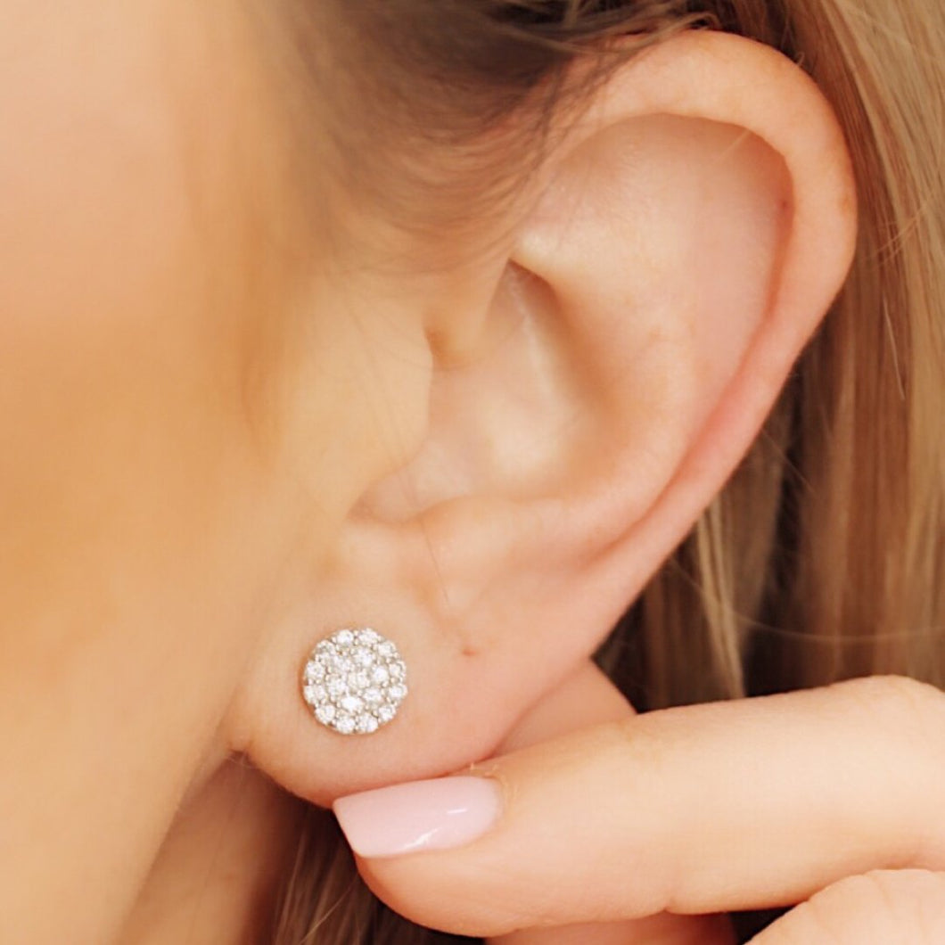 Silver Linings Pave Disc Studs Earrings