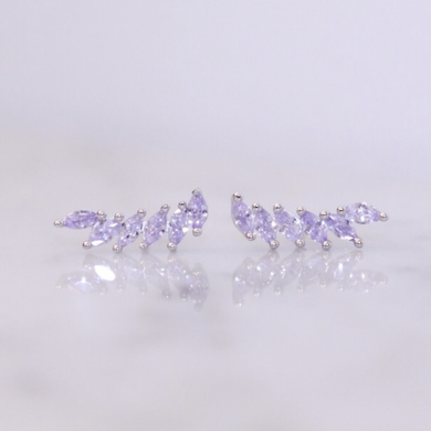 Feather Lavender Crystal Ear Climbers - Sterling Silver