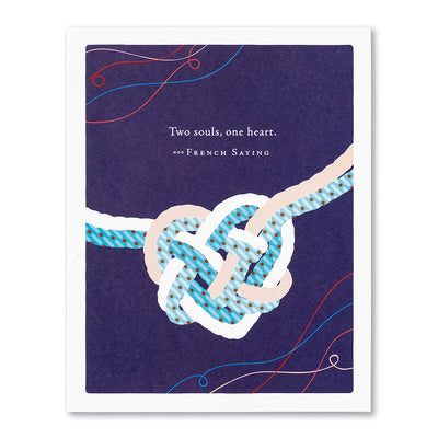 """Two Souls, One Heart"" Wedding Card"