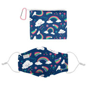 Girl's Adjustable Face Mask & Pouch Set