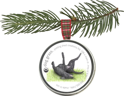 Holiday Pet Ornament Dog Grass
