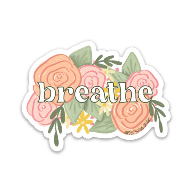 Breathe Floral Vinyl Sticker