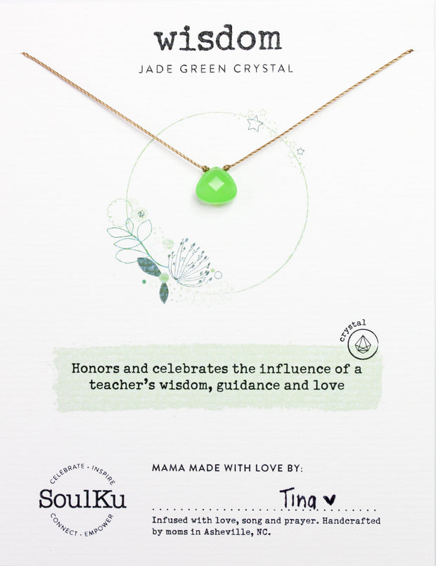 Jade Green Crystal Necklace for Wisdom