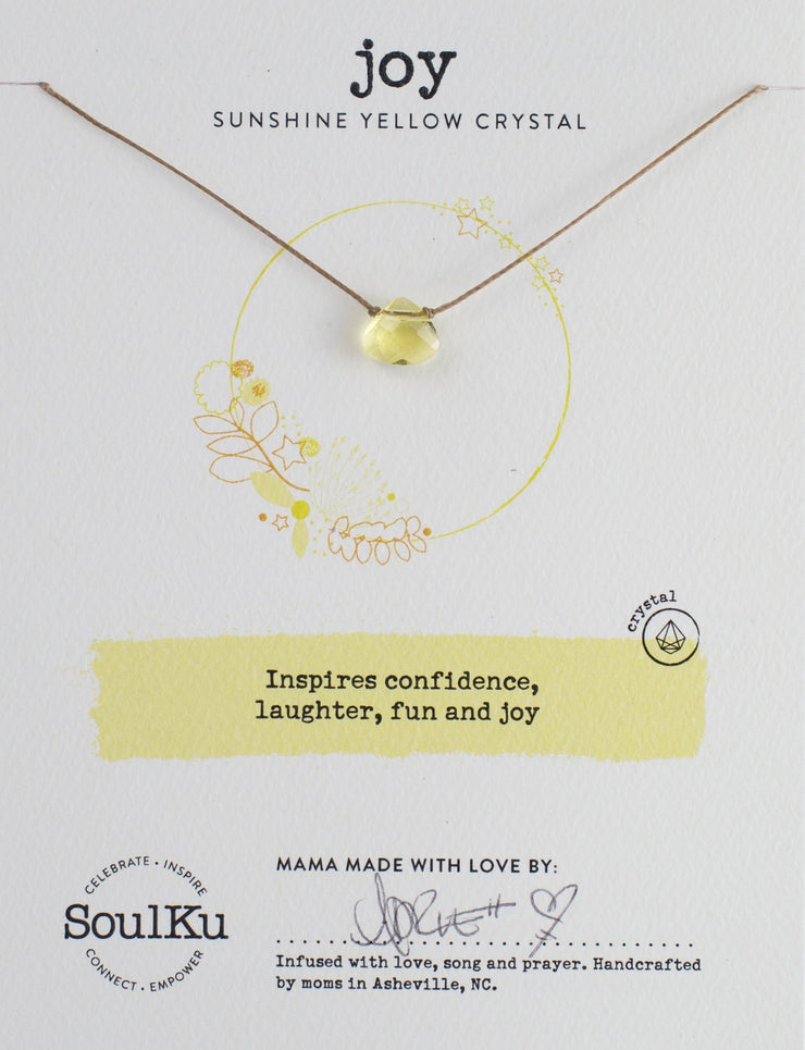 Sunshine Yellow Crystal Necklace for Joy