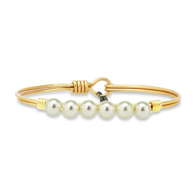 Luca and Danni Crystal Pearl Bangle Bracelet in Classic White