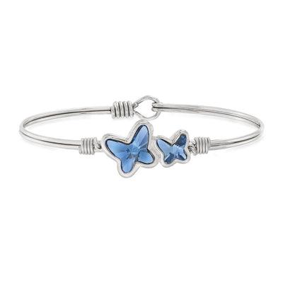 Butterflies Bangle Bracelet in Denim Blue Swarovski Crystal