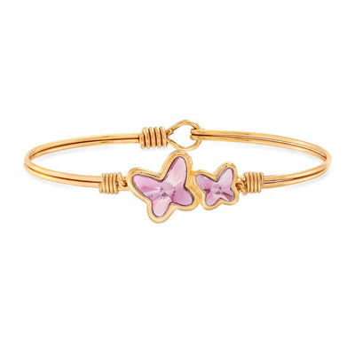 Butterflies Bangle Bracelet in Rose Swarovski Crystal