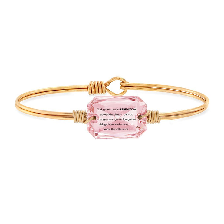Serenity Prayer Bangle Bracelet in Rose Swarovski Crystal