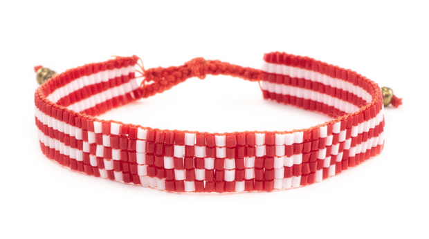 Red Seed Bead Love Bracelet